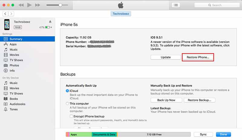 restaurando las configuraciones de iphone para el bluetooth