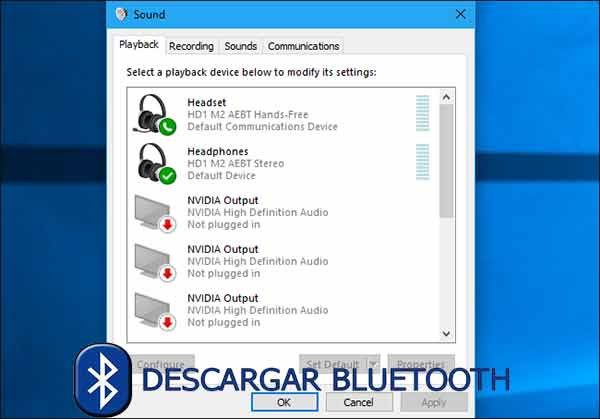 Windows muestra los perfiles como dispositivos de audio diferentes