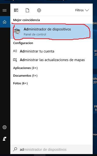 administrador de dispositivos
