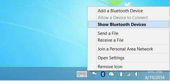 mostrar dispositivos bluetooth en windows 8